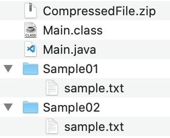 JavaでZIPファイルを解凍した フォルダ構成
